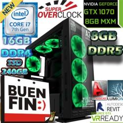 ULTRA PC GAMER RENDER CORE I7-7700 NVIDIA GTX-1070 8GB DDR5 16GB DDR4 SSD 2TB