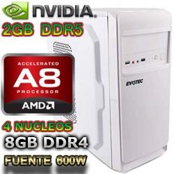 CPU GAMER BARATA 2018 AMD A8 4 NÚCLEOS NVIDIA GT-1030 2GB DDR5 1TB 8GB DDR4