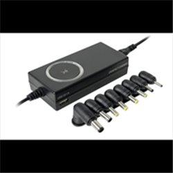 ADAPTADOR DE CORRIENTE UNIVERSAL PERFECT CHOICE C/PUNTAS INTERCAMBIABLES C/PUERTO USB