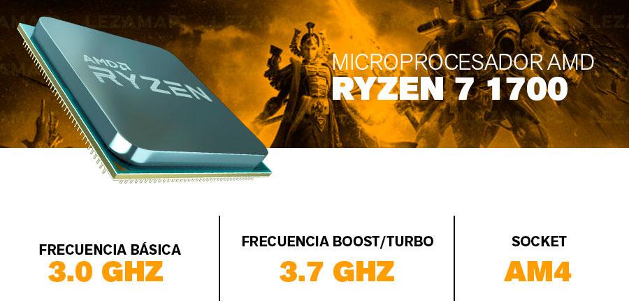pc gamer con procesador amd ryzen 7 1700 8 nucleos 16 hilos