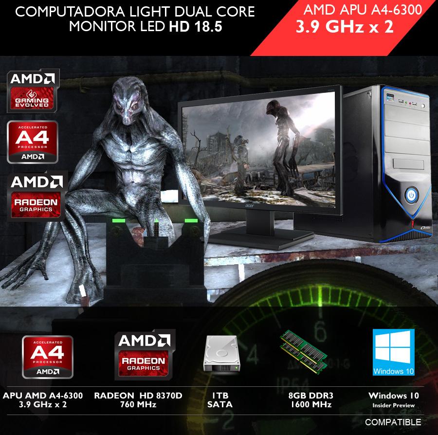 pc gamer batata a4-6300 pantalla monitor