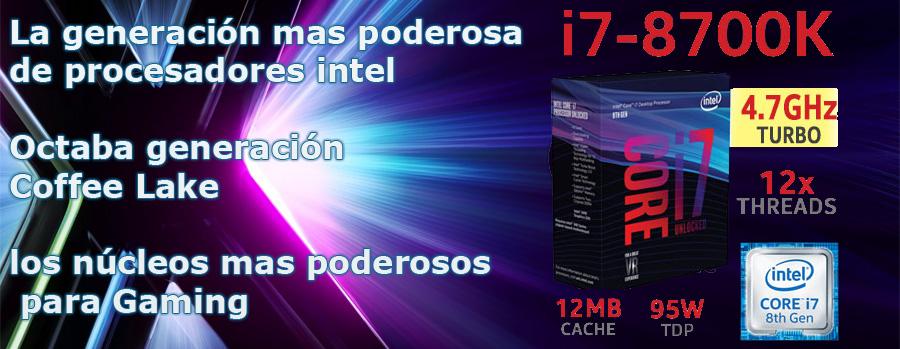 ULTRA PC INTEL CORE I7 8700K OCTAVA GENERACION 6 NUCLEOS 12 HILOS EN MEXICO