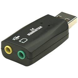 MANHATTAN 150859 Adaptador de Audio 3D USB conexión de micrófono y salida de audio