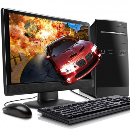 PC GAMER AMD A8 4 NÚCLEOS VÍDEO RADEON R7 1TB 4GB MONITOR LED HD