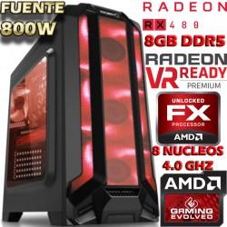 MONSTER PC GAMER AMD FX-8350 8 NUCLEOS 4.2GHZ RADEON RX-480 8GB DDR5 1TB
