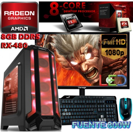 MONSTER PC GAMER AMD FX-8350 8 NÚCLEOS RADEON RX-480 8GB DDR5 MONITOR FULL HD