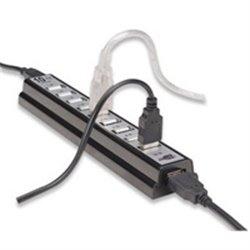 HUB USB V2.0 MANHATTAN DE ESCRITORIO 10 PTOS C/FUENTE DE ALIMENTACION
