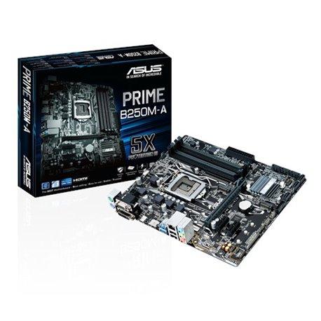 TARJETA MADRE ASUS PRIME B250M-A, SUPPORT INTEL CORE I7/I5/I3/PENTIUM/CELERON, SOCKET 1151, CHIPSET B250, 4 X DIMM DDR4 MAX 64GB