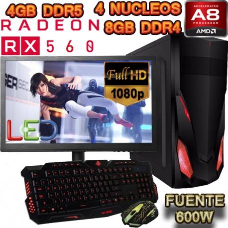 PC GAMER AMD A8-9600 4 NÚCLEOS RX-560 4GB DDR5 PANTALLA FULL HD 1TB 8GB DDR4