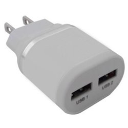 CARGADOR USB P/PARED 2 PTOS BLANCO