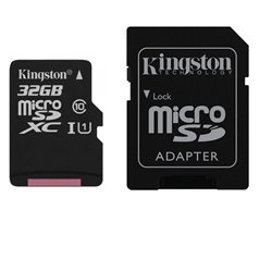 MEMORIA KINGSTON 32 GB MICRO SD CANVAS SELECT CL10 UHS-I 80MB/S C/ADAPTADOR