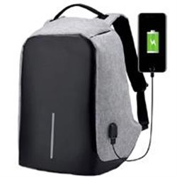 BACK PACK ANTIRROBO TECHZONE TZ18LBP02 DE 17 COLOR GRIS POLIESTER Y PANEL FRONTAL EN POLIURETANO