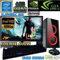 ★PC GAMER INTEL 7 GENERACIÓN G4600 NVIDIA GTX-1050TI 4GB DDR5 PANTALLA FULL HD