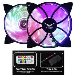 NACEB CA NA-0923 KIT RGB VENTILADORES x 2 TIRA RGB x 1 CON CONTROL