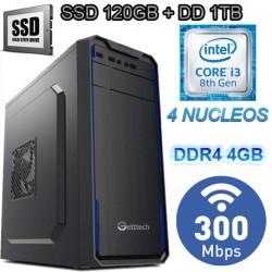CPU INTEL CORE I3-8100 4 NÚCLEOS 3.6GHZ SSD 1TB MEMORIA DDR4 4GB WIFI