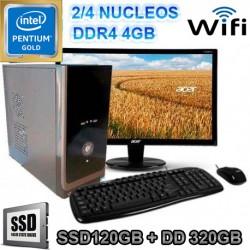 PC INTEL GOLD G5400 MONITOR LED SSD 320GB MEMORIA DDR4 4GB WIFI