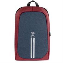 MOCHILA ANTI-ROBO PERFECT CHOICE 15.6 ROJO/AZUL