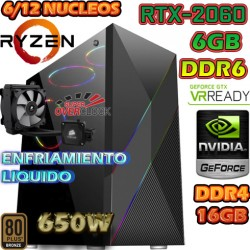 PC GAMER AMD RYZEN 5-2600X 4GHZ NVIDIA RTX-2060 6GB DDR6 16GB DDR4
