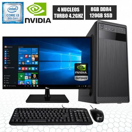PC INTEL CORE I3-9100 MONITOR FULL HD SSD DDR4 8GB NVIDIA
