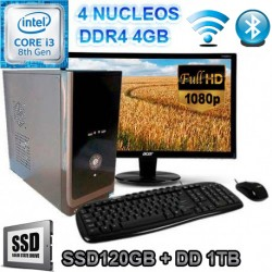 PC INTEL CORE I3-8100 MONITOR FULL HD SSD 1TB MEMORIA DDR4 4GB WIFI