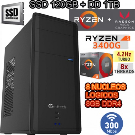 PC AMD RYZEN 5 2400G 4/8 NÚCLEOS VÍDEO VEGA 8GB DDR4 SSD 1TB WIFI