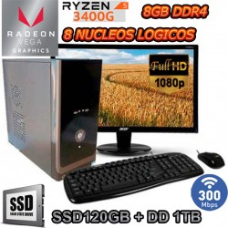 PC AMD RYZEN 5 3400G 8 NÚCLEOS MONITOR FULL HD SSD 1TB DDR4 WIFI