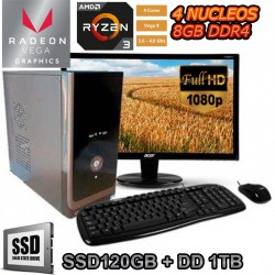 PC AMD RYZEN 3 3200G 4 NÚCLEOS VEGA 8 MONITOR FULL HD SSD 1TB DDR4 8GB