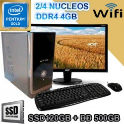 PC INTEL GOLD G5400 MONITOR LED SSD 500GB MEMORIA DDR4 4GB WIFI