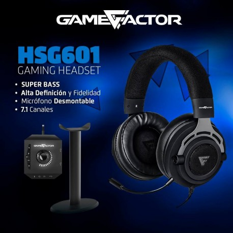 DIADEMA GAME FACTOR HSG601, MICRÓFONO REMOVIBLE, AMPLIFICADOR USB