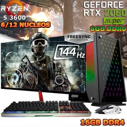 PC GAMER RYZEN 5 3600 RTX 2060 SUPER 8GB DDR6 MONITOR 144HZ