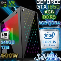CPU GAMER INTEL CORE I5-9400 6 NÚCLEOS NVIDIA GTX-1650 4GB DDR5