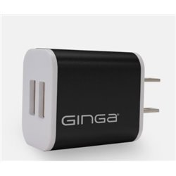 CARGADOR GINGA PARED NEGRO METAL 2 PUERTOS USB 2.1/1.0 MHA CHROME 2