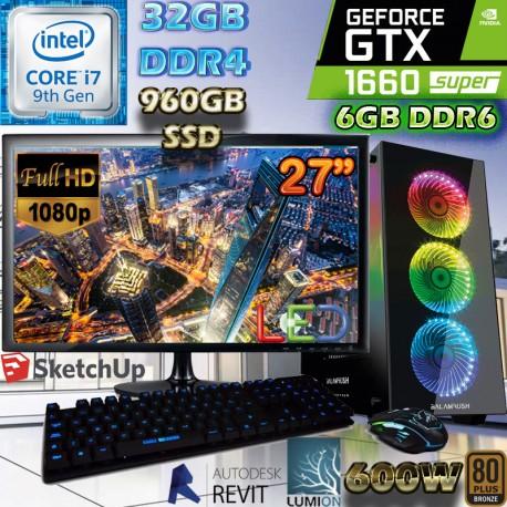 PC ARQUITECTURA CORE I7 NVIDIA GTX-1060 SUPER 6GB DDR6 32GB SSD MONITOR