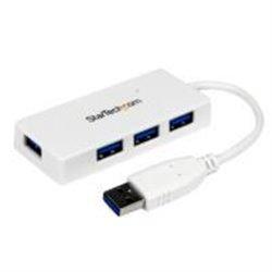 ADAPTADOR CONCENTRADOR HUB USB 3.0 SUPER SPEED 4 PUERTOS SALIDAS PORTÁTIL PARA LAPTOP COMPUTADORA - BLANCO - STARTECH.COM MOD.