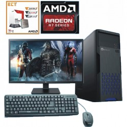 PC RAPIDA AMD A8 4 NÚCLEOS VÍDEO RADEON 1TB 4GB MONITOR LED HD