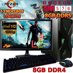 ★PC GAMER AMD RYZEN 5 2600 12 NÚCLEOS RX-570 8GB DDR5 PANTALLA
