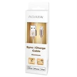 CABLE ADATA USB A LIGHTNING APPLE DE 100CM 2.4MHA DORADO IPOD IPHONE IPAD METALICO