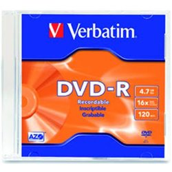 DVD-R VERBATIM 4.7GB 16X 120MIN SINGLE SLIM CASE