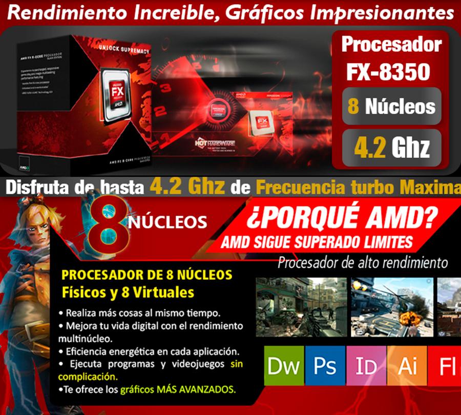 computadora gamer amd fx 8350 8 nucleos 4.2ghz gama alta
