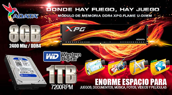 PC GAMER EN MEXICO CON 8GB DDR4 ALTO RENDIMIENTO Y DISCO DURO 1TB WESTERN DIGITAL GAMING