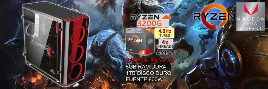 Nueva pc gamer barata 2019 ryzen 3 3200g tercera generacion con video radeon rx vega, corre todos los juegos