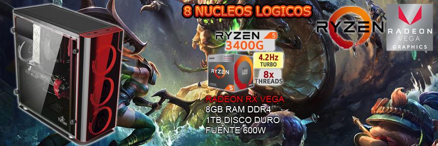 Nueva pc gamer barata 2019 con ryzen tercera generacion 8 nucleos video radeon vega 8gb ddr4 en Mexico