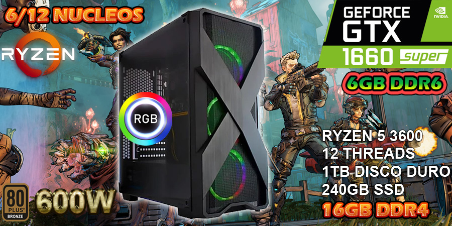 Nueva pc gamer ryzen 5 3600 12 nucleos tercera generacion con nvidia gtx 1660 6gb ddr5 la mejor pc gamer precio rendimiento todo en ultra 2020