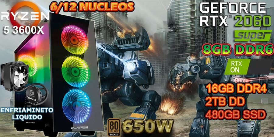 Nueva pc gamer 2020 gama alta ryzen 5 3600x tercera generacion 12 nucleos nvidia rtx 2060 super 8gb g-ddr6 16gb ddr4 en Mexico