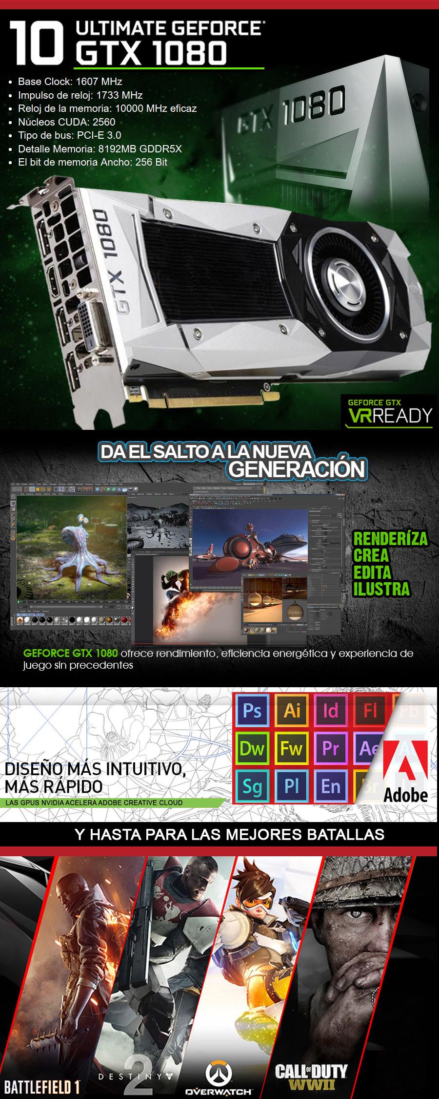 PC GAMER GAMA ALTA CON NVIDIA GTX 1080 8GB DDR5X EN MEXICO