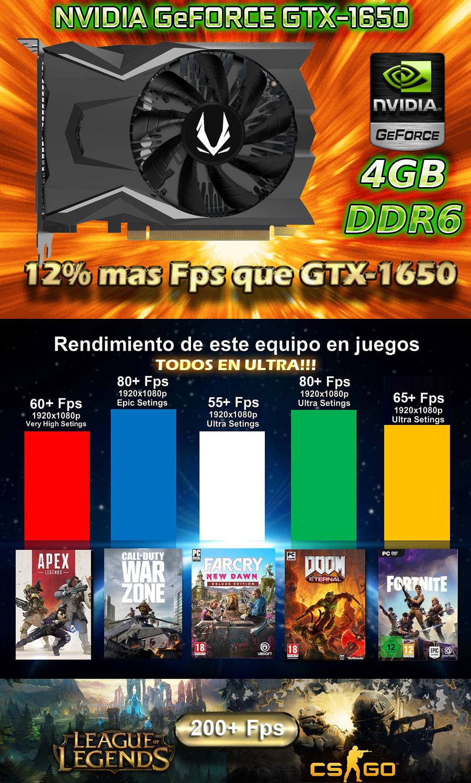 Pc gamer barata en mexico con nvidia gtx 1650 4gb g-ddr6 oferta todos los juegos en graficas altas