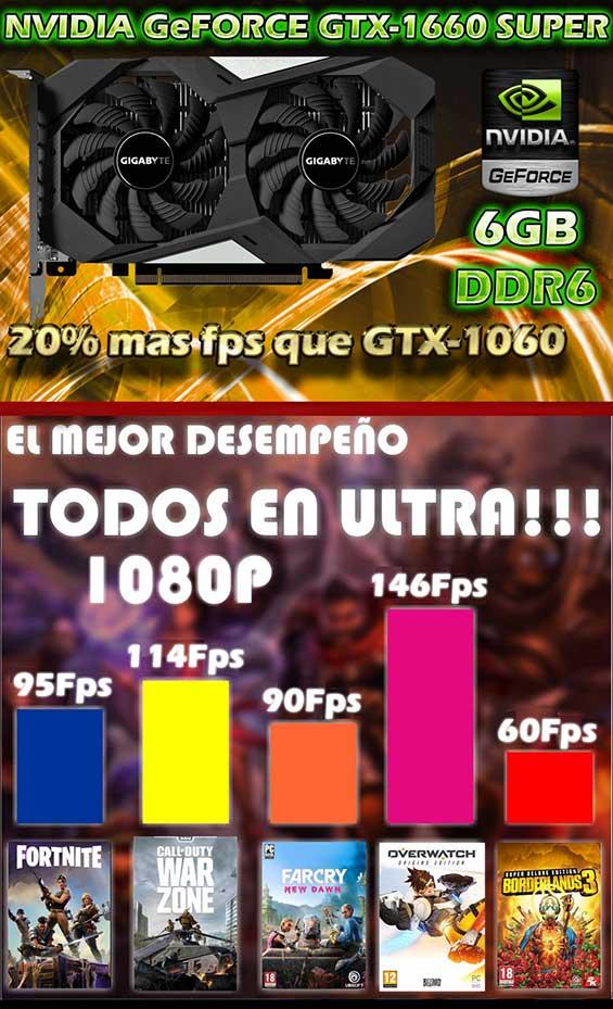nuevas pc gaming todos los juegos en ultra 60 fps con nvidia gtx-1660 6gb en mexico