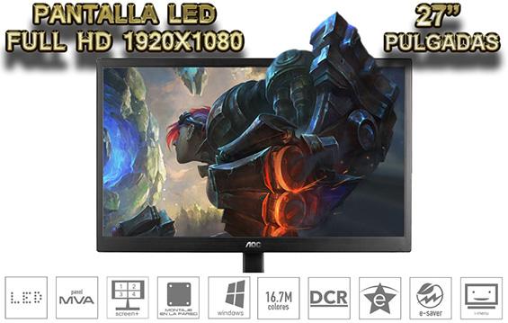 COMPUTADORA PARA DISEÑO Y EDICION CON GRAN MONITOR DE 27 PULGADAS PROFECIONAL FULL HD LED
