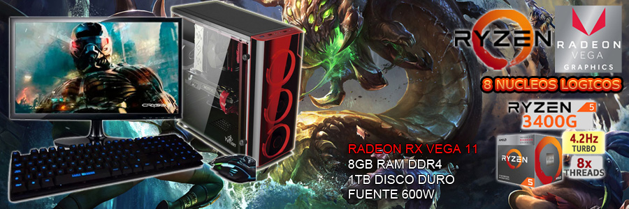 nueva pc gamer barata 2019 completa ryzen tercera generacion 8 nucleos gpu vega 2gb pantalla full hd led teclado gamer con luz