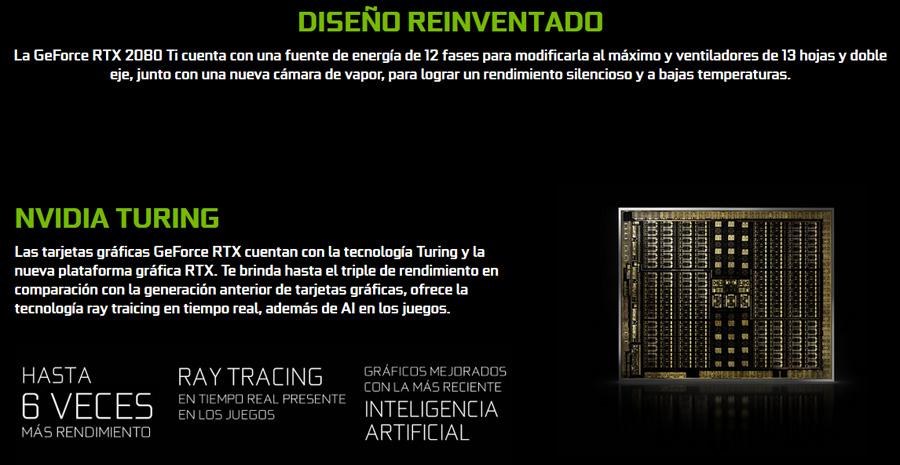 computadora con tarjeta de video nvidia rtx-2080ti 11gb ddr6